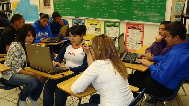 Bowie H.S. students working on the JA Titan Computer Simulation